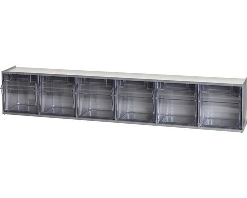 Casier transparent 6 cases 600mm gris Multistore