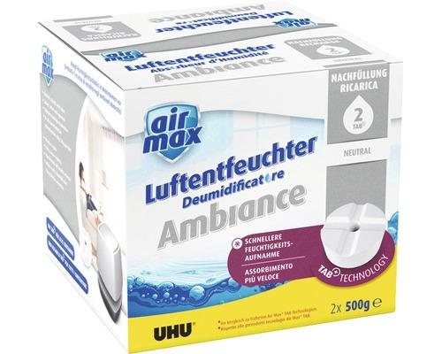 UHU air max Recharche pour déshumidificateur pastilles neutres 2 x 500 g
