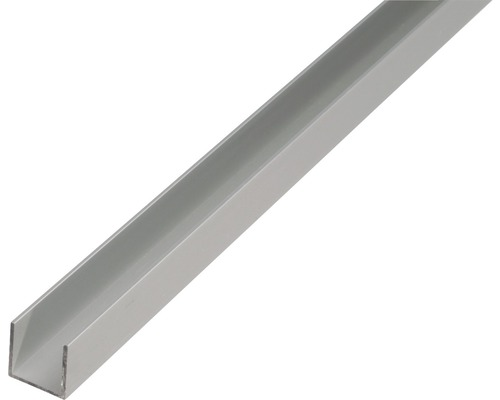 Profilé en U en aluminium argent 20x20x1,5mm, 2m