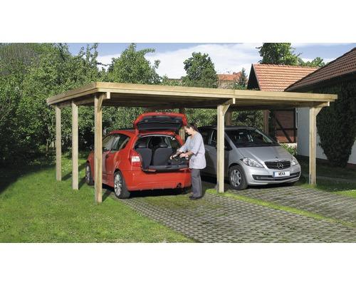 Carport double weka Optima taille3 603x512cm, traité en autoclave par imprégnation