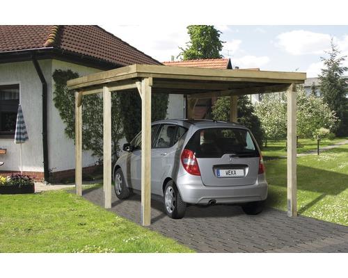Carport simple weka Optima taille1 322x512cm, traité en autoclave par imprégnation