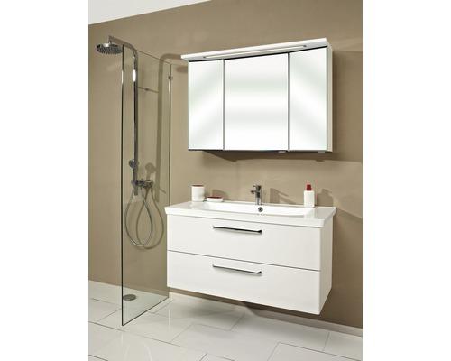 Ensemble de meubles de salle de bains Pelipal Kumba blanc à haute brillance avec armoire de toilette 3 D 200x110x51cm prémonté