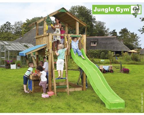 Klettergerüst Jungle Gym : Spielturm jungle gym chalet holz mit kaufladen rutsche grün