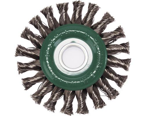 Brosse ronde tressée Lessmann Ø 115mm fil d''acier inoxydable