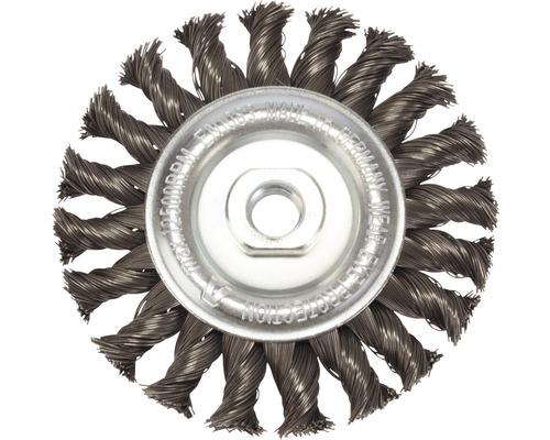 Brosse ronde tressée Lessmann Ø 115 mm à fils d''acier, M14