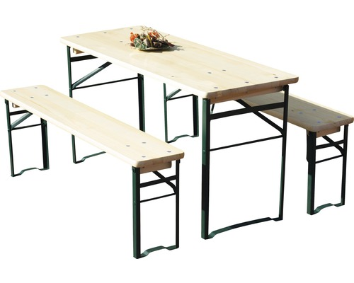 Table et banc pour enfants en épicéa 3 pièces, naturel