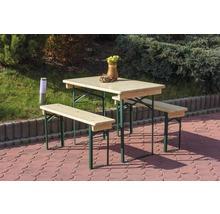 Balkongarnitur Bierzeltgarnitur Tischmaße 110 x 50 x 75 cm Bankmaße 110 x 24,5 x 45 cm aus Fichte 3-teilig natur-thumb-1