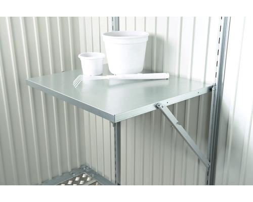 Table pliante pour tous les abris de jardin 69 x 58 cm, argent