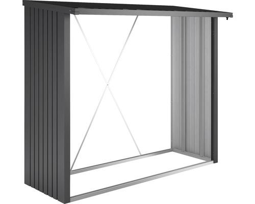 Abri bûches biohort WoodStock 230 229 x 102 x 199 cm gris foncé métallique