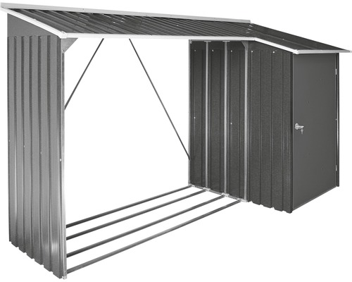 Abri pour bois de chauffage avec annexe 272.2x108.8x160.4 cm, anthracite-blanc