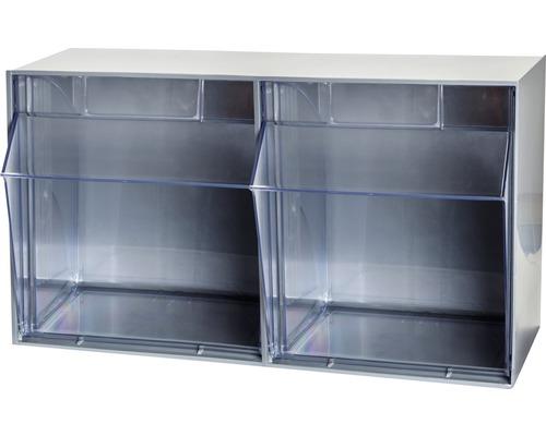 Casier transparent 2 cases 600mm gris Multistore