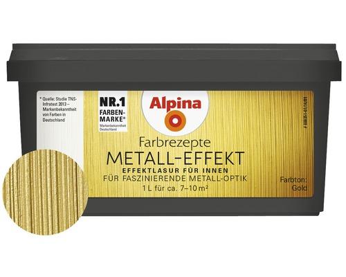 Alpina Farbrezepte lasure à effet métal or 1 l