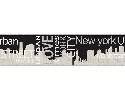 Frise Only Borders 9 noms de villes gris 5mx13cm