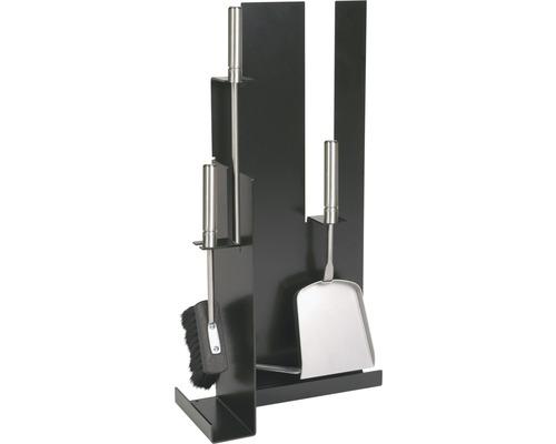 Garniture de cheminée noire 3 pièces 21.02.957.2