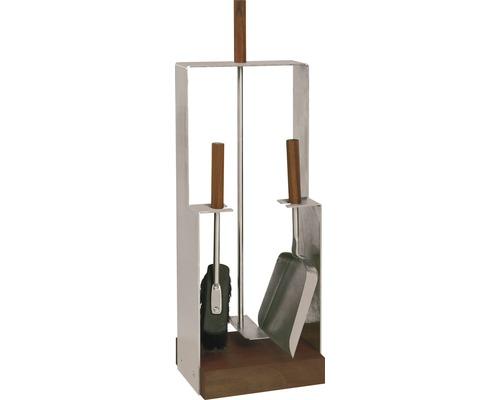 Garniture de cheminée acier inoxydable 4 pièces 21.02.745.2
