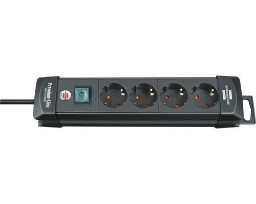 Bloc multiprise 4 emplacements avec interrupteur, noir, 1.8m