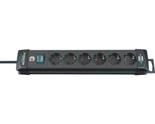 Bloc multiprise 6 emplacements avec interrupteur, noir, 3m