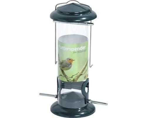 Distributeur à nourriture en métal avec silo en verre acrylique Ø 9,5 x 23 cm vert