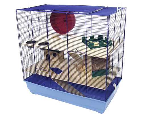 Cage pour rongeurs Skyline Leon Special Edition avec étages en bois, échelles en bois, petite maison en bois, boîte à copeaux, roue, gamelles 67 x 36,5 x 65 cm bleu-bleu clair