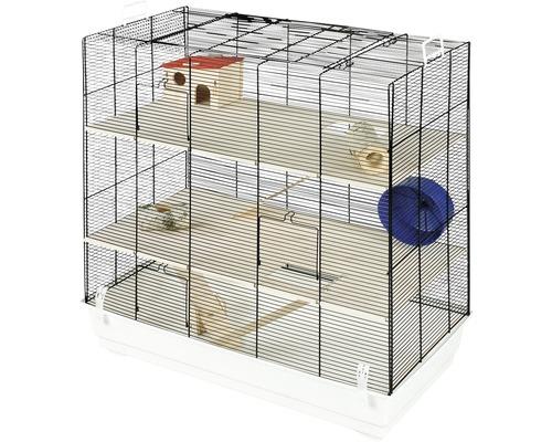 Cage pour rongeurs Skyline Leon avec étages en bois, échelles en bois, petite maison en bois, roue, bascule en bois, tunnel en bois naturel 67 x 36,5 x 65 cm noir-blanc