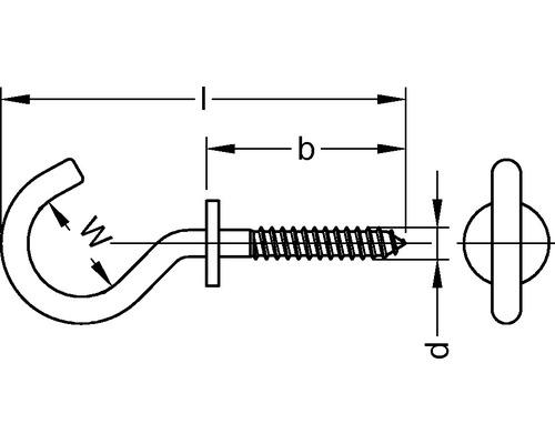 Schraubhaken gebogen mit Beffe 4,4x83 mm 100 Stück