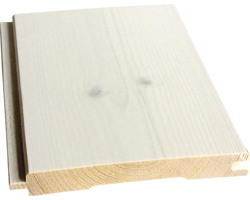 Profilé en biseau Konsta épicéa A blanc 14x121x2350 mm