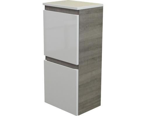 Armoire midi FACKELMANN Piuro largeur 40,5 cm blanc à haute brillance chêne gris démonté 87133