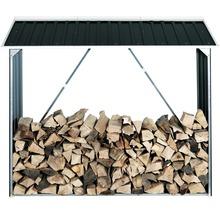 Abri pour bois de chauffage 182x74x162.5 cm, anthracite-gris