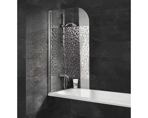 Pare-baignoire Schulte 1 pièce en verre véritable décor Terazzo Alu nature