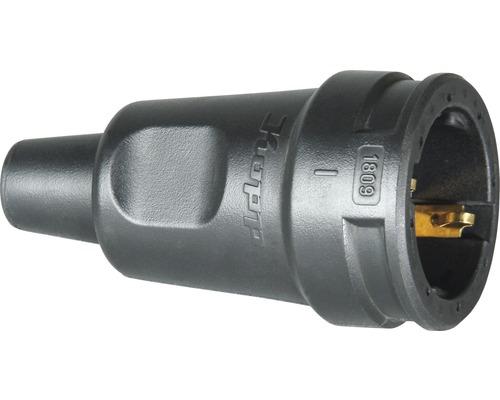 Contact de protection pour raccord en caoutchouc IP20 avec protection anti-pliage noir