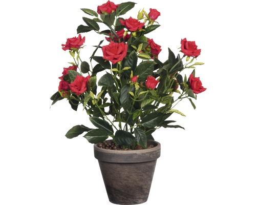 Fleur artificielle Rosier en pot, rouge