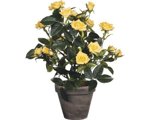 Fleur artificielle Rosier en pot, jaune