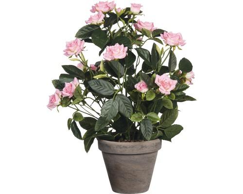 Fleur artificielle Rosier en pot, rose