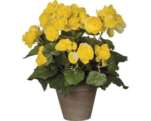 Fleur artificielle Bégonia, jaune