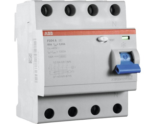 Disjoncteur différentiel ABB F204A-63/0,03A 63A 30mA 4 pôles