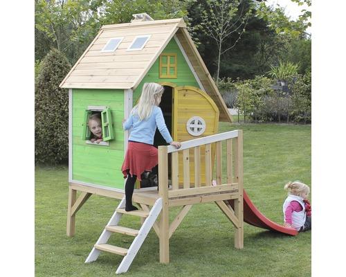 cabane exit fantasia 300 bois avec toboggan vert hornbach luxembourg. Black Bedroom Furniture Sets. Home Design Ideas