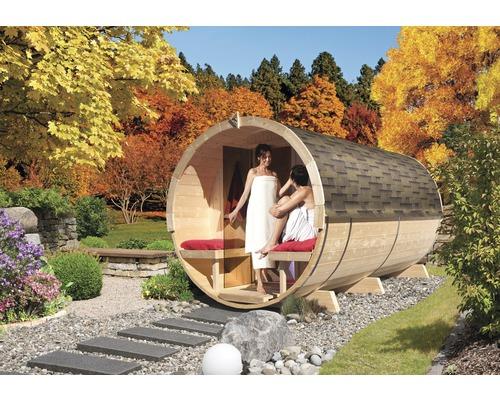 Sauna tonneau Calienta Sodalith IV avec poêle 9 kW et commande externe