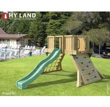 Spielturm Hyland Projekt Q1 Holz mit Kletterwand, Rutsche grün