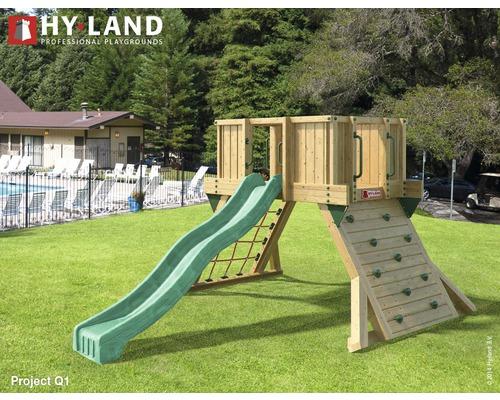 Tour de jeux Hyland EN 1176 pour espace public projet Q1 avec toboggan vert