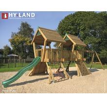 Spielturm Hyland Projekt Q4S Holz mit Kletterwand, Doppelschaukel, Rutsche grün