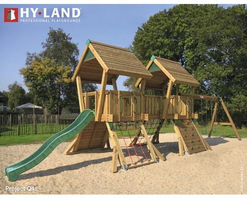 Tour de jeux Hyland EN 1176 pour espace public projet Q4S avec balançoire et toboggan vert