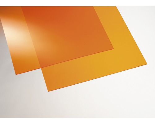 Plaque acrylique couleur 3x250x500 mm lisse orange