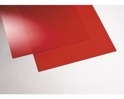Plaque acrylique couleur 3x250x500 mm lisse rouge