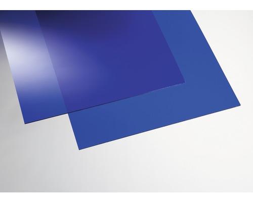 Plaque acrylique couleur 3x250x500 mm lisse bleue