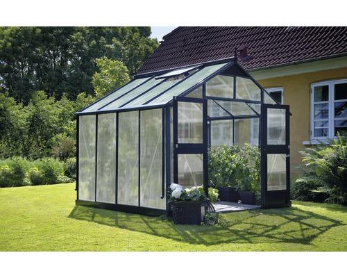 Serre Premium 8.8 m², panneaux alvéolés 10mm, 296x296 cm, anthracite