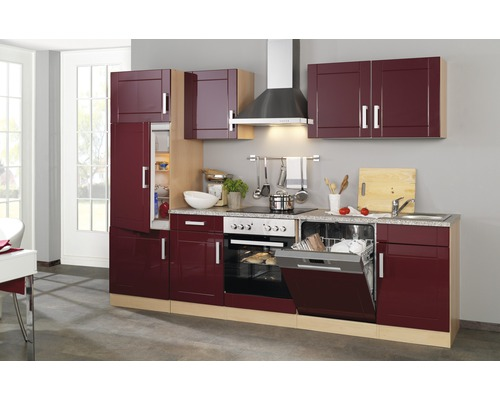 Küchenzeile Held Möbel Varel Rot 280 cm inkl. Einbaugeräte ...
