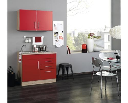 Mini-cuisine Held Möbel Toronto rouge 100 cm avec des appareils encastrés