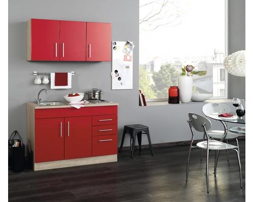 Mini-cuisine Held Möbel Toronto rouge 120 cm avec des appareils encastrés