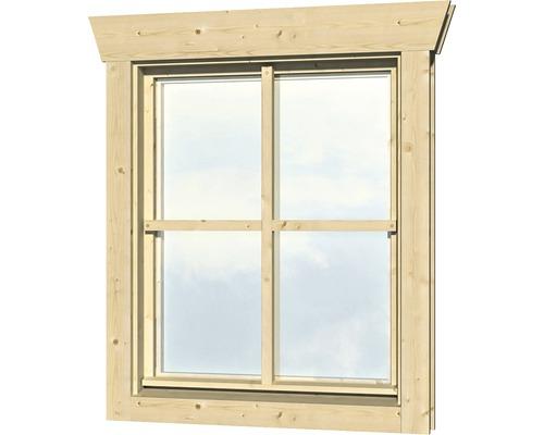 Einzelfenster für Gartenhaus 45 mm SKAN HOLZ Anschlag rechts 57,5x70,5 cm  natur