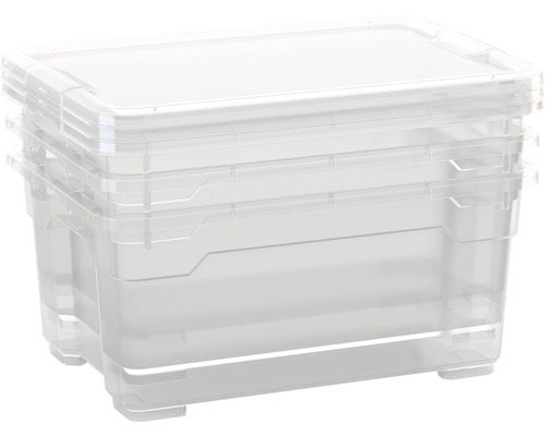 Boîte en plastique DIRK XS avec couvercle lot de 4